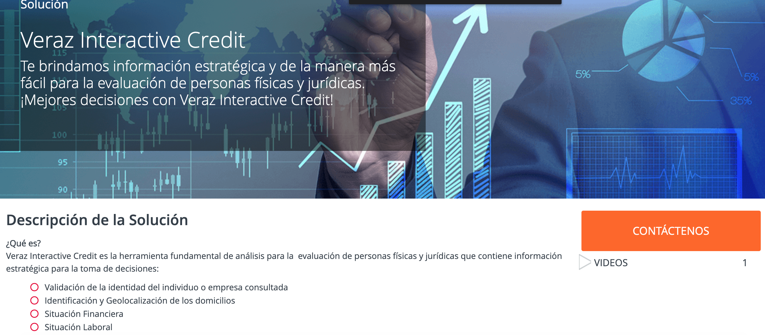 interfaz de la web veras interactive credit